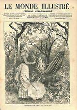 Villégiature Dans le Parc par Adrien Marie GRAVURE OLD PRINT 1883
