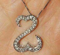 1.00 Ct Round Cut Diamond Open Heart Pendant Necklaces 14K White Gold Over