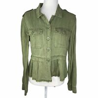 Sanctuary New Discovery Jacket Peplum Cadet Olive Green Women's XS Tencel Linen