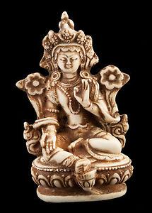 Statue Von Tara IN Harz Göttin Buddhistisches Tibetisch-Weiß Creme - 9.5 cm-8454