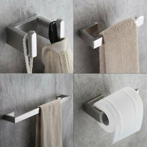 Fapully Four Piece Bathroom Accessories Set Stainless Steel Wall Mounted,Brushed