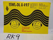 VINTAGE QSL CARD AMATEUR RADIO HISTORY 1969 DEUTZER GERMANY BOSCH CAPACITORS