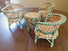 """Vintage Toys 1940's lot of 4 Pieces Set Wicker Woven Doll Furniture Fits 12-15"""""""