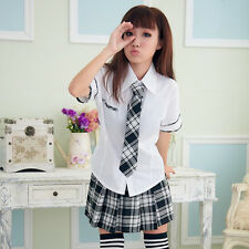 Anime Costume Japan School Girl Uniform Cosplay Shirt +Tie + Skirt Nice New
