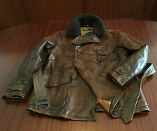 NWT Polo Ralph Lauren Cowhide Distressed Leather Jacket Peacoat Brown Men's M
