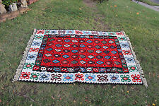 """Vintage Afghan Wool Hand Woven Area Rug-6'6""""X4'6""""-Red Colorful Patterns-#2"""