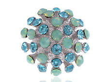 Blue Aqua Jade Crystal Abstract 70's Disco Ball Fun Silver Tone Color Sized Ring