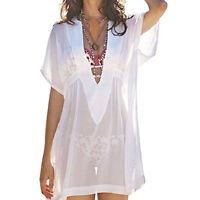 Summer Bikini Cover Up Sarong Dress Swimwear Kaftan Lace Crochet Beach Wear Tops
