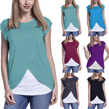 Maternity Womens Short Sleeve Clothes Breastfeeding Tops Casual T-shirts Blouse