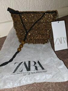 Zara Golden Beaded Embellished Small Mini Bucket Bag Hand Bag Cute Chic