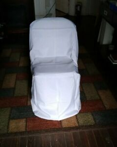 15 White Polyester BANQUET CHAIR COVERS Wedding Ceremony Party Decorations