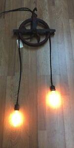 Antique Barn Pulley Light Steampunk Rustic Industrial Light
