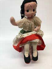 Vintage Felt Cloth Mexican doll embroidered face all original wire armature 12""