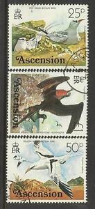 ASCENSION 1976 BIRDS DEFINITIVES 25p 50p £1 FRIGATE BIRD 3V FINE USED