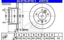 ATE Juego de 2 discos freno 272mm para VW LT MERCEDES 24.0116-0110.1