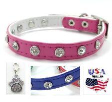 Pink Bling Pet Collar - Small - Free paw print charm - Rhinestones dog puppy cat