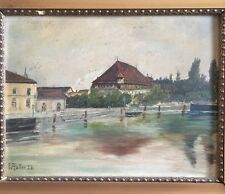 Oil Painting Konstanz with Council Signed W.Haller 26
