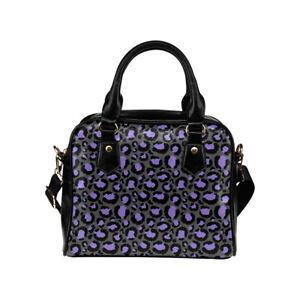 Grey Lilac Leopard Print Ladies Small Handbag, Crossbody Bag, Halloween, Punk