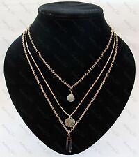 Triple En capas Collar Colgante De Piedras Preciosas Cuarzo ahumado, cristal de roca, Shell Boho