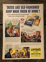 RARE Vintage 1942 Lipton's Noodle Soup Ad 11.5x15 inch WWII Era Illustrations