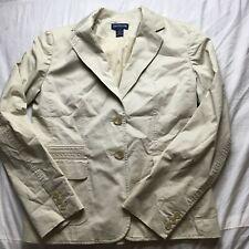 Ann Taylor Khaki Beige 2-Button Lined Cotton Blend Blazer Women's Size 4