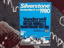 1980 programma SILVERSTONE 2/3/80 - VANDERVELL British F3 CAMPIONATO-brdc
