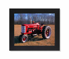 Red Farmall Model 400 Farm Tractor Photo Wall Picture Black Framed