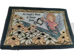 """EmbroideredTapestry Wall Hanging 13x 9"""" An Angel's Work Is Never Done Flowers"""
