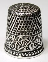 "Antique Ketcham & McDougall Sterling Silver Thimble  ""Chased Palmettes""  C1880s"