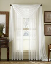"Empire 2-Piece Sheer Voile Window Treatment Curtain Panel Drapes Solid 84"" Long"