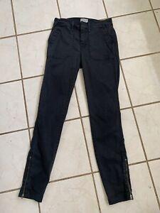 J.CREW! NEW! Dark Charcoal Skinny Cotton/Lyocell Cargo Pants w/ Zip Leg Sz 24
