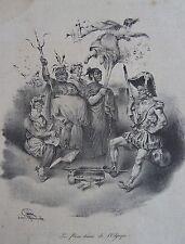 JULIEN D'apres GRANDVILLE : » Les faux dieux de l'Olympe. » Lithographie tirée d