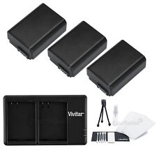 3X NP-FW50 Replacement Battery & USB Dual Charger for Sony NEXF3 NEX6 NEX5R NEX3