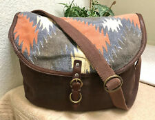 Lucky Brand Brown Southwest Canvas Leather Messenger Bag Crossbody Large VGC