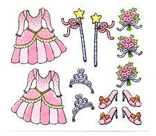 Princess Stickers Pink Dress Tiara Wand Flower Bouquet High Heeled Shoes New
