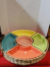 Vegetable Dip Set Glazed Ceramic with Wicker Carrier