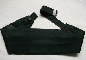 Cummerbund MENS Broad Sash Adjustable PLEATED Classic Black SILK