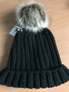 Hand Knitted Hat with Pom Pom Black
