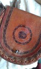 Vintage Tan Brown Leather Tooled Hand Bag Retro Festival Hippy Shoulder Handbag