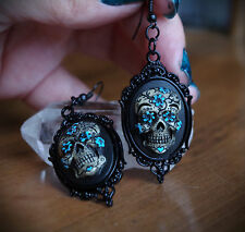 Black&Blue Sugar Skull Calavera Day of the Dead Dia De Los Muertos Earrings
