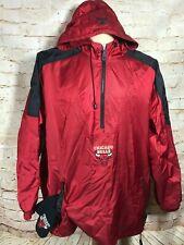 Chicago Bulls Basketball Starter 1/4 Zip Red Pullover Jacket Hooded XL 90s VTG