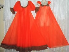 Vintage Jenelle Sheer Tangerine Db Layer Chiffon Peignoir Robe Nightgown Set M L