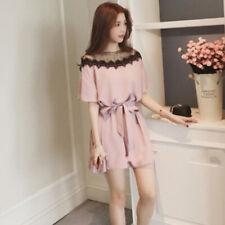 Short Sleeve Korean Dress Solid Elastic Waist Women Fashion Casual Dress DP