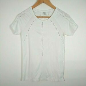 Athleta Pure Tee Organic Cotton Stretch Small Short Sleeve 81272 Mesh White