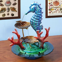 Decorative Glass And Metal Indoor Water Fountain - Seahorse