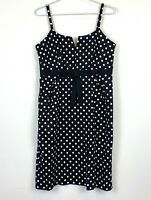Basque Petite Womens Black with White Spots Sleeveless A-Line Dress Size 12