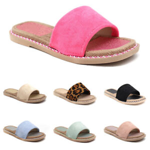 Damen Flache Pantoletten Sandalen Sommer Sandaletten Slippers Freizeit Schuhe