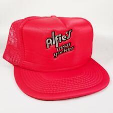 Vintage Alfie's New Yorker Hat Red Satin Trucker Mesh Snapback Baseball Cap NICE