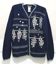 NORTHERN REFLECTIONS Navy Cardigan Ladies Large Pink Floral Embroidered Sweater