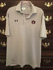 Under Armour Auburn University Men Grey White Striped Polo Shirt Size XL